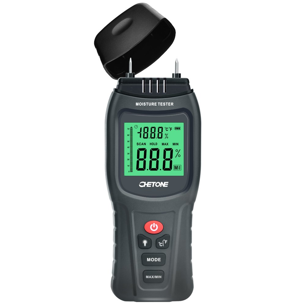 Moisture Meter CHETONE Digital Calibrated Wood Moisture Detector 2 pins Wood Portable Moisture Tester Water HD Digital LCD Display with one 9V Battery(Included) Range 0%~85% RH