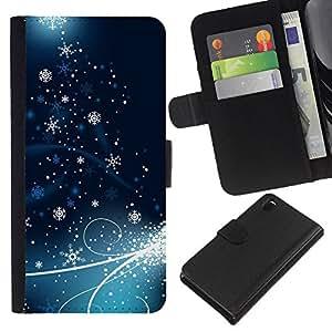 Planetar® Modelo colorido cuero carpeta tirón caso cubierta piel Holster Funda protección Para Sony Xperia Z3 D6603 ( Holiday Christmas Snowflake Ice )