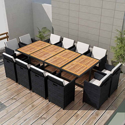 Festnight 13 Piece Outdoor Wicker Patio Dining Set, Black Poly Rattan Acacia Wood, Space Saving