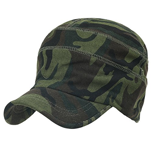 ililily Military Camouflage Pattern Cotton Casual Flex Fit Work Cap Soft Hat Olive Green