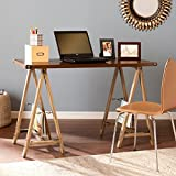 Upton Home Drexel Sawhorse Desk, Oak brown, bronze finish, OS8037OH