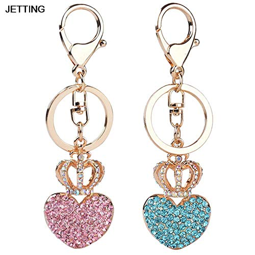 (1 Pcs Crown Heart Keychain Keyring Rhinestone Crystal Charm Pendant Key Bag Chain Gift Car Accessories Pink )
