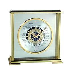 Aviator World Time Square Clock in Silver Finish