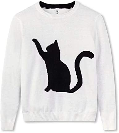 Kid Nation Kids Long Sleeve Pullover Cat Intarsia Jacquard Sweater for Boys or Girls XS Grey