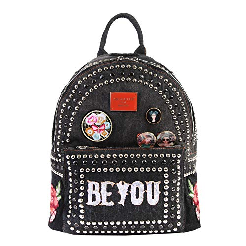 (Exclusive, Fashionable, Stylish Fashion Patch Backpack (Black Jean))