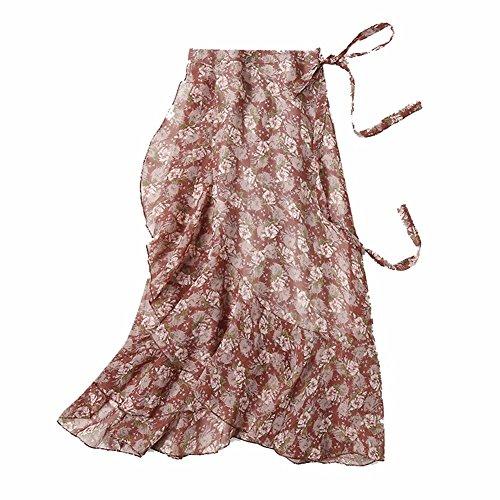 YUCH Jupe Mi-Longue Imprime Irrgulire  Lacets pour Femmes 3