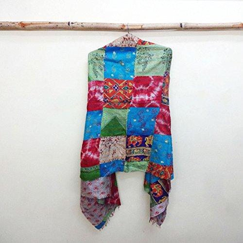Silk Kantha Scarf patchwork Head Wrap Stole Dupatta Hand Quilted Women Shawl