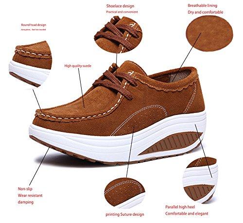 Sneakers up Freizeitschuhe Abnehmen Braun Fitnessschuhe Loafers Walkingschuhe Schnürer Damen CCZZ Shape Keilabsatz Wedges Plateau Winter Echtleder Warm TwSn4qY