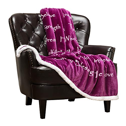 Chanasya Hope Faith Love Joy Inspiring Message Gift Throw Blanket - Perfect Caring Uplifting Thoughtful Personalized Gift for Blessing Peace Prayer for Male Female Best Friend - Plum Throw