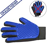 Pet Grooming Glove - Gentle Deshedding Glove, Designed for Five Fingers to Enhance Massage Your Loving Pet - Suitable for Pets with Long & Short Fur (One Pair, Blue Color)