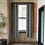 CurtainKitsNow Premium Heavyweight Tension Rod Curtain Kit - Large C, Includes Two Gray 96'' x 50'' Wide Panels & One 80'' - 100'' Tension Rod)