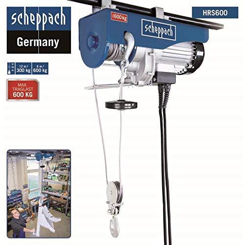 Scheppach elektrischer Seilzug HRS600 (Tragkraft 600 kg, 230 V, 600 W, Hubhöhe 12 m, 12m Drahtseil, inkl. 2 Befestigungsbügel) Seilwinde