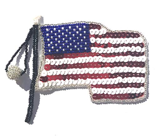 (Patriotic USA American Flag Beaded Sequined Sew-On Applique Patch)
