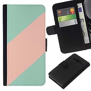 Rosa en colores pastel líneas modelo Colores- la tarjeta de Crédito Slots PU Funda de cuero Monedero caso cubierta de piel Para Samsung Galaxy Core Prime