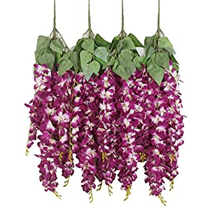 Duovlo Silk Wisteria Flower Artificial 2.13 Feet Hanging Wisteria Vine Fake Flower Bush String Home Party Wedding Decoration,Pack of 4 57