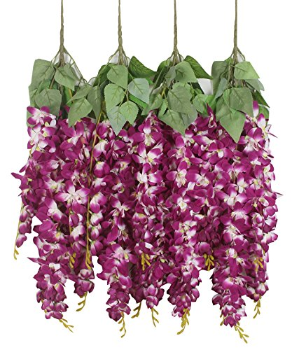 Duovlo Silk Wisteria Flower Artificial 2.13 Feet Hanging Wisteria Vine Fake Flower Bush String Home Party Wedding Decoration,Pack of 4 (Dark Purple)