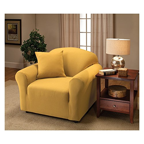 Madison Stretch Jersey Yellow Chair Slipcover, Solid