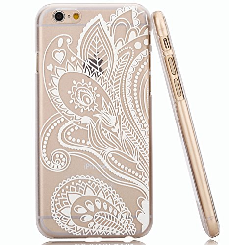 brand new 8ba05 7078b iPhone 6 Plus Case,iPhone 6S Plus Case Hundromi Iphone 6 6S Plus Plastic  Henna White Floral Paisley Flower Mandala Case Cover For iPhone 6  plus/iphone ...