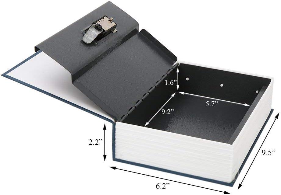 Parrency Home Dizionario Diversion metallo cassaforte 9 1//2 x 6 x 1 1//3 Black Medium blu SBH-M001 Cassaforte a libro con lucchetto a combinazione