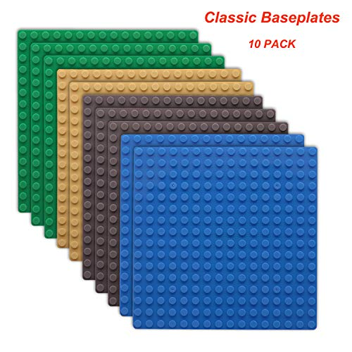 """5"""" x 5"""" Building Baseplates, FUBARBAR 16 Concave and Convex Construction Trays for Children's Structures-100% Compatible with Major Brands Brick Building Baseboards, Pack of 10"""