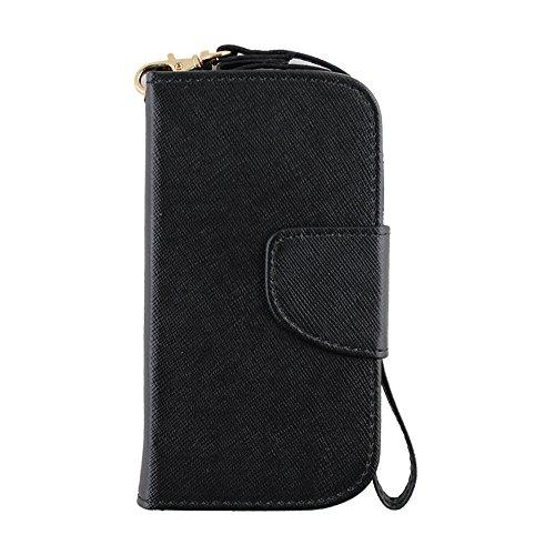 NEX 3-In-1 2 Tone Wallet Case with Wrist Strap for Samsung Galaxy Exhibit T599 - Retail Packaging - Black