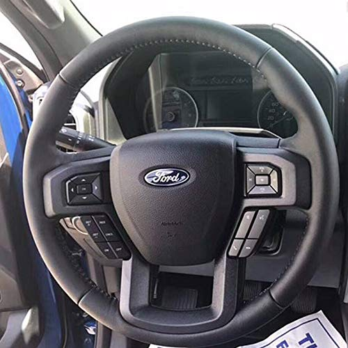 Loncky Car Black Genuine Leather Custom Fit Steering Wheel Cover for Ford F-150 F150 XLT Interior ()