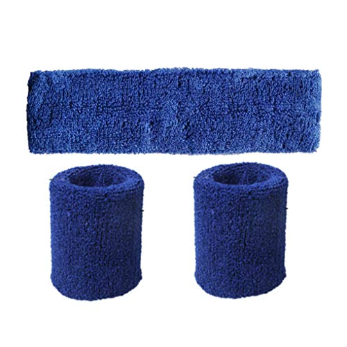 Aulley Unisex Polyester Elastic Wristband Headband Set Solid Color Breathable Sports Basketball Sweatband