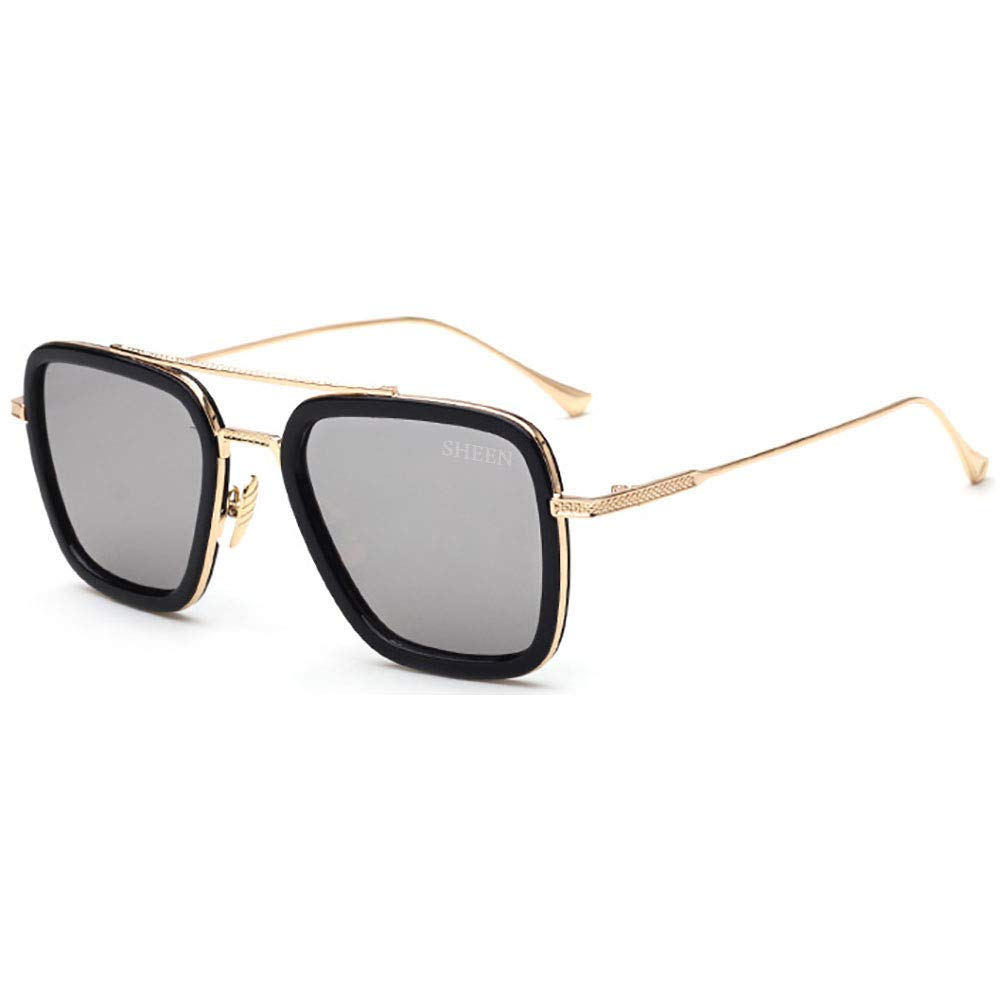 Retro Aviator Square Glasses Metal Frame for Men Women Transparent Lens Anti Blue Rays SHEEN KELLY 97255-9