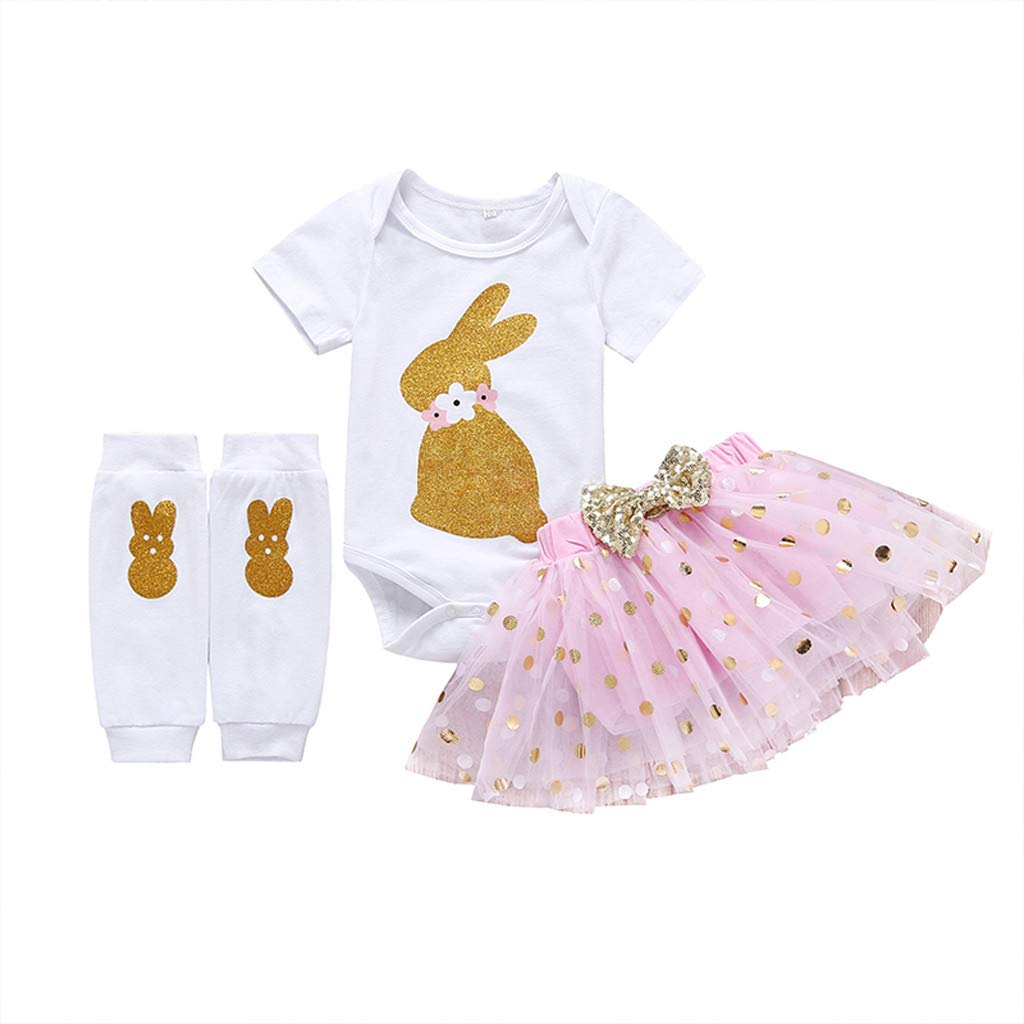 Toddler Baby Girl 3Pcs Clothes Sets,Suma-ma Infant Girls Easter Cartoon Rabbit Dot TuTu Princess Skirt Tops Set