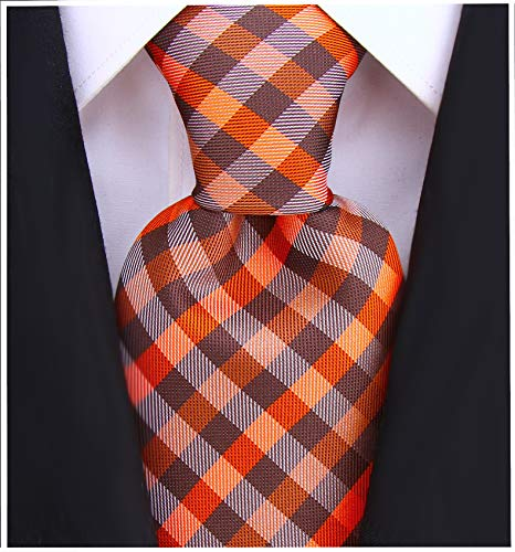 Gingham Plaid Ties for Men - Woven Necktie - Brown and Burnt Orange