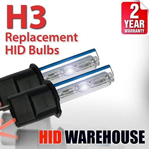 HID-Warehouse AC HID Xenon Replacement Bulbs - H3 5000K - Bright White (1 Pair) - 2 Year Warranty (Hid H3 Bulb Xenon)