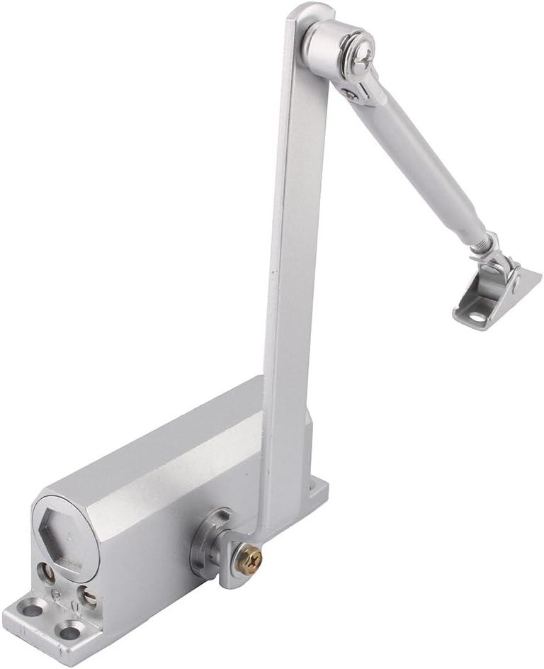 Yosoo - Cierrapuertas de acero reforzado, resistente al fuego, de 25 a 45 kg, se fija en la parte superior de las puertas cortafuegos, plateado