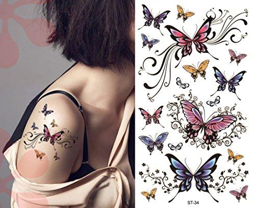 Sexy Lower Back, Shoulder, Neck, Arm Temporary Tattoos - Elegant Butterflies Tattoo (Tattoos Elegant Temporary)