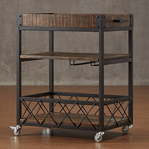 Modern Style Rustic Mobile 3-Tier Kitchen Bar Serving Rolling Wine Cart with Removable Tray Top and Bottom Shelf | Black Metal Frame, Wooden Shelves - Includes Modhaus Living Pen (Bistre Brown) (Removable Bar Cart Tray With)