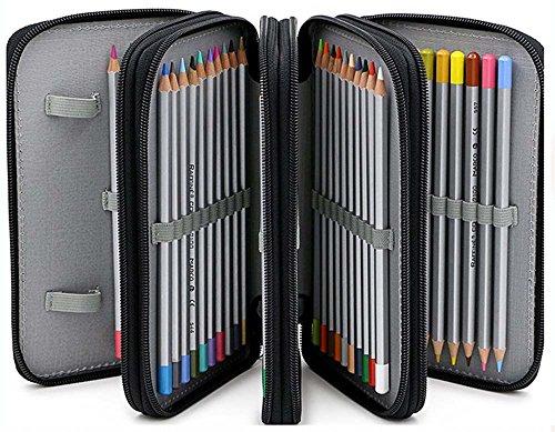 Bleistift Organizer, 72 Einfügen Tragbarer Großraum Bleistift Elementary Super School Federmäppchen 4 Schichten Rack (Bleistifte nicht im Lieferumfang enthalten) Schwarz