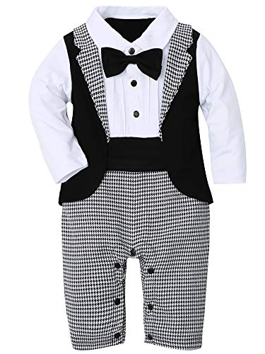 WESIDOM Baby Boy Suit Tuxedo Outfits Set,Toddler Gentlemen Rompers Formal Wear Jumpsuit Onesie(0-18 Months) Grey