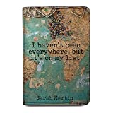 Personalized Leather RFID Passport Holder Cover - Travel Gift With Quotes