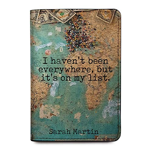 Personalized Leather Passport Holder Cover - Customized Travel Gift With Quotes