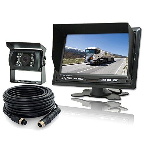 Truck Backup Camera System with 7 Inch High Brightness LCD Monitor and Waterproof IP68 Rear View Camera 12~32V for RVs Bus Motorhome Van and Larger Vehicles Rear View - Sun Monitor Extension