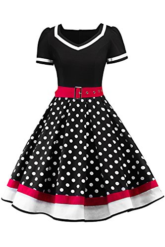 Women's Plus Size Vintage 50s Polka Dots Dress Summer Holiday Swing Dress,Size 4XL Black ()