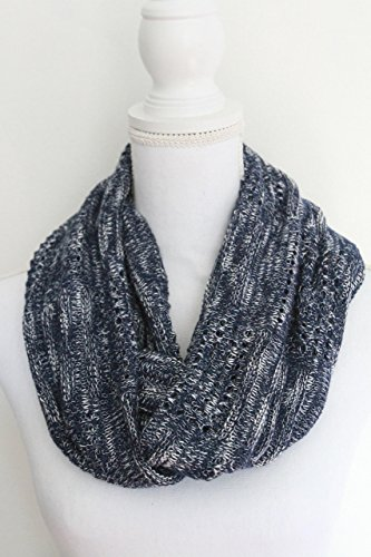 Navy White Weave Knit Infinity (Weave Rayon Scarf)