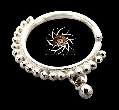 Silver Nose Ring - Silver Nose Hoop - Indian Nose Ring - Tribal Nose Ring - Nose Jewelry - Nose Piercing - Tiny Nose Ring - Nostril Ring - Nostril Jewelry - Piercing Jewelry (NL3S)