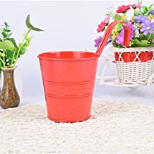 Kicode Garden Planters Colorful Vertical Bright Colours Metal Flower Pots Hanging Bucket Wall Water Tool