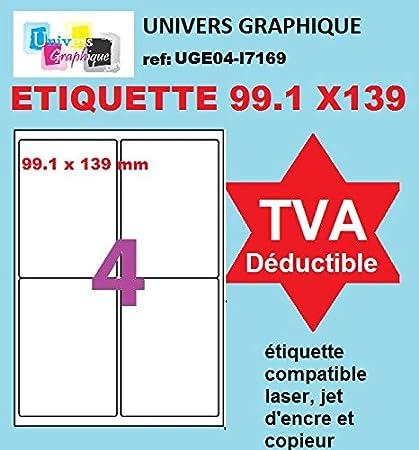 und Laserdruckern 100 A4-Blatt 16 Aufkleber 105 x 37 mm Klebeetikettenpapier f/ür Tintenstrahl
