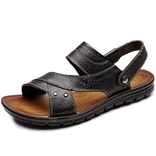 Playa MERRYHE Cuero Piscina Slip Punta para En Sandalias Zapatillas Atléticas Zapatos Sandalias Abierta De Zapatillas Hombre Black Senderismo La De Real rx1r0P