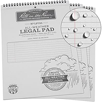 "Rite in the Rain All-Weather Legal Pad, 8 1/2"" x 11"", Gray Cover, Legal Pattern (No. LP785)"