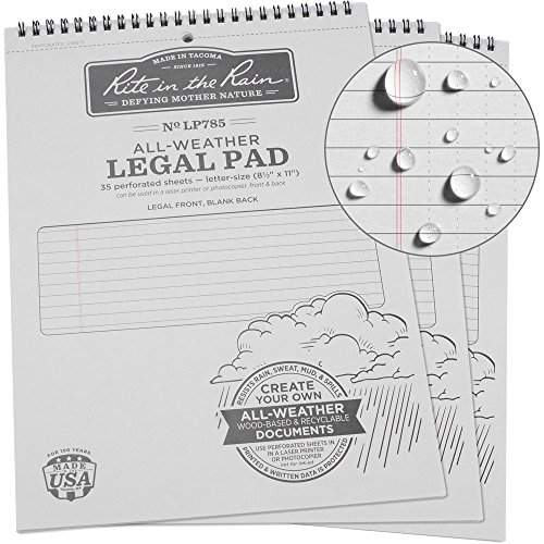 Rite in the Rain Weatherproof Legal Pad, 8 1/2