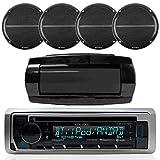 Kenwood Single DIN Bluetooth in-Dash CD/AM/FM/Digital Media Marine Stereo Receiver, 4X Enrock Marine