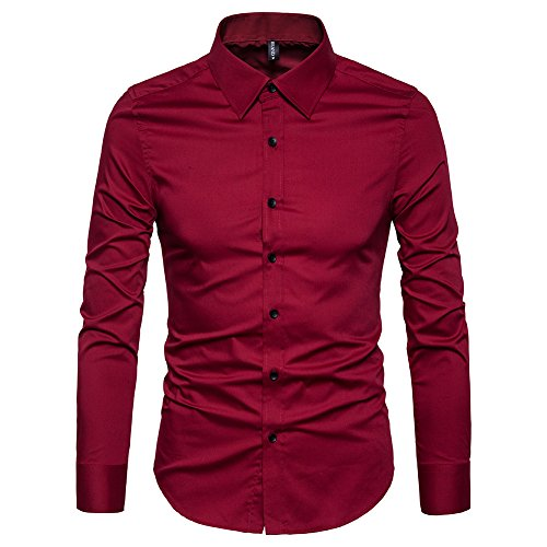 Manwan walk Men's Slim Fit Business Casual Cotton Long Sleeves Solid Button Down Dress Shirts (Medium, Wine Red) (Dress Red Shirt)