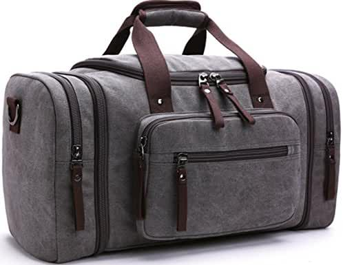Aidonger Unisex Canvas Travel Bag Duffel Bag Weekend Bag with Strap